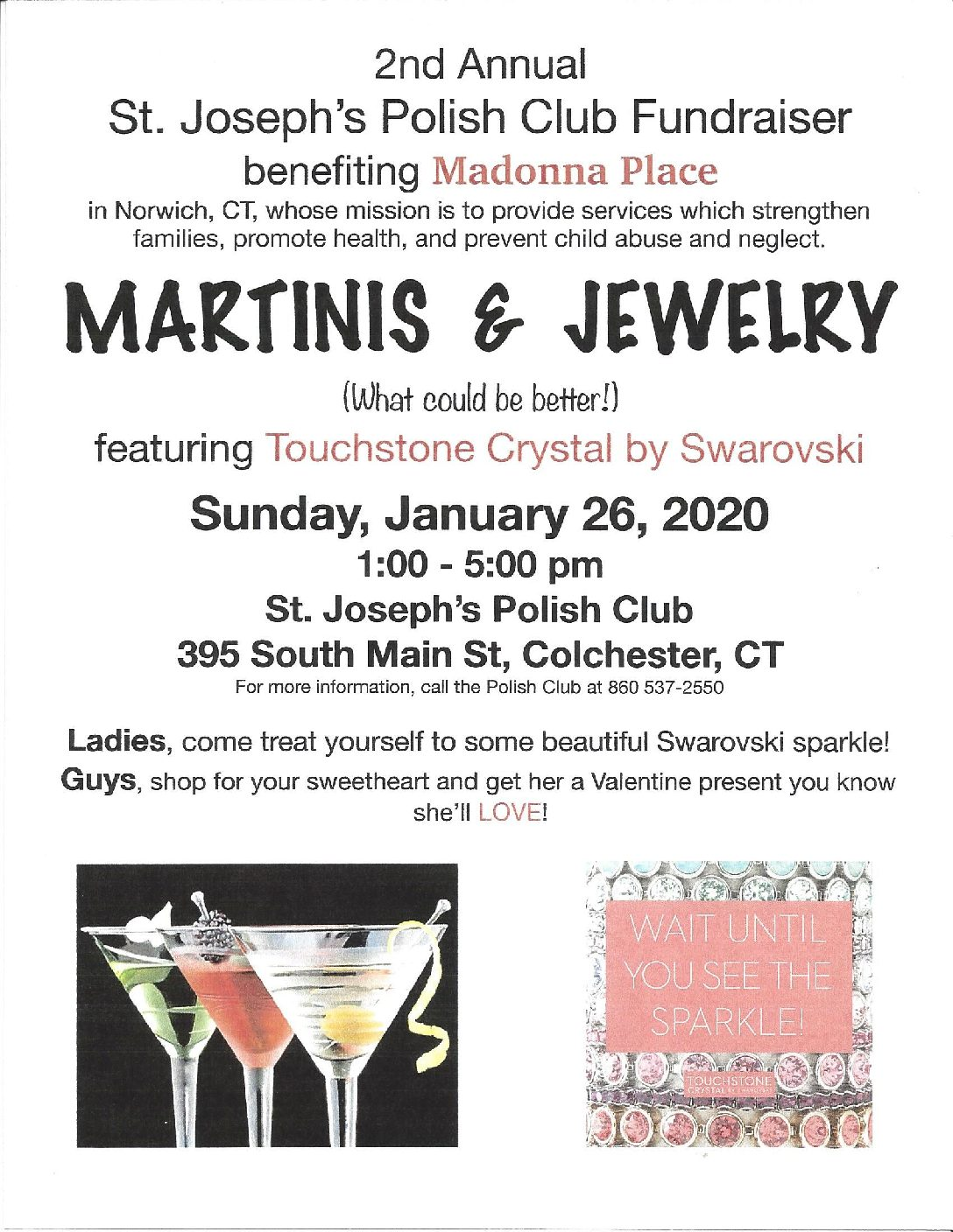 St. Joseph's Polish Club (featuring Touchstone Crystal by Swarovski) Jewelry Fundraiser to benefit Madonna Place
