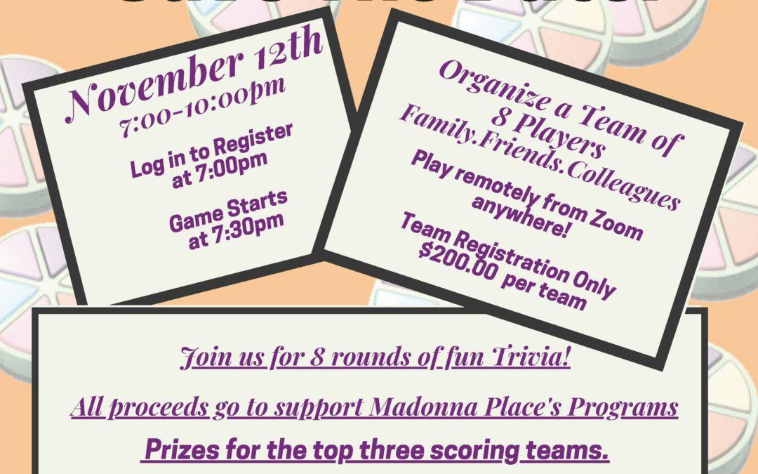 Save the date: Virtual Trivia Night November 12, 2021 7:00-10:00 p.m.